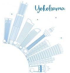 Outline yokohama with blue buildings vector