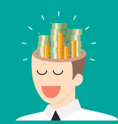 Pile of money in businessman head vector
