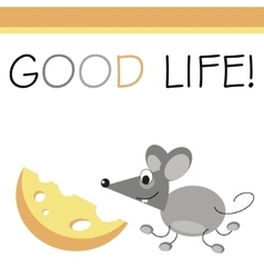 Post card mouse and cheese vector