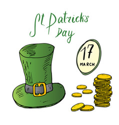 St patricks day hand drawn doodle set with irish vector