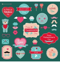 Valentines day badges icons set vector