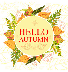 Wreath of hand drawn autumn leaves round frame vector