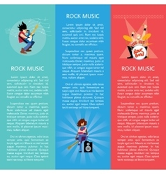 Banners with rock musicians playing instruments vector image