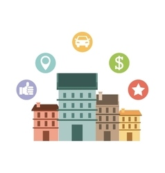 Cityscape with social marketing icons vector
