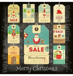Christmas Sale Tags in Vintage Style vector image