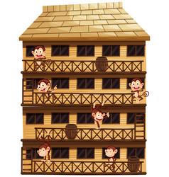 Monkeys on different floors of the house vector