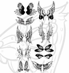 wing tattoo set vector image
