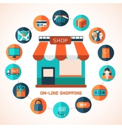 On-line shopping infographic background vector