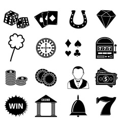 Casino gambling icons set vector