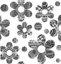 Black and white seamless pattern with ethnic vector