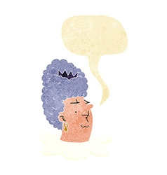 Cartoon queens head with speech bubble vector