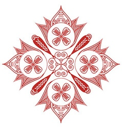 Shape with oval diagonal elements in white and red vector