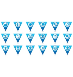 Set 18 sport blue triangular map pointer vector