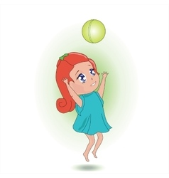 Sweet girl playing with a ball vector