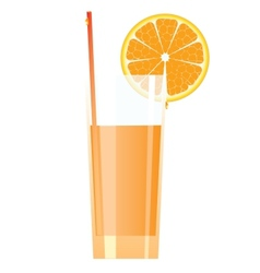 Cocktail in high glass with orange vector