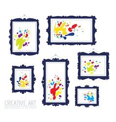 Set of dark blue rectangular frames with vector