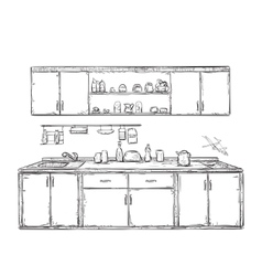 Kitchen cupboard kitchen shelves hand drawn vector