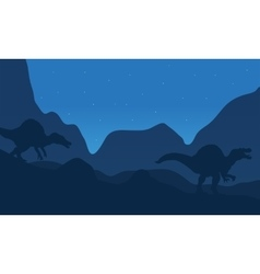 Landscape spinosaurus at the night vector