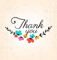 Thank You Calligraphic Design with Flowers vector image