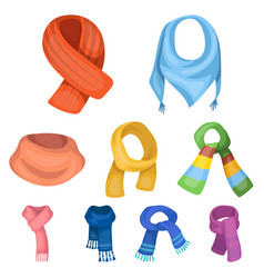 Beautiful woolen silk-colored warm scarves of vector