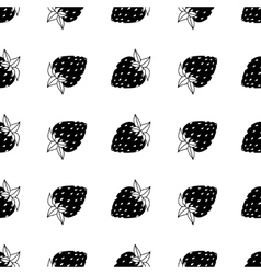 black and white strawberries vector image