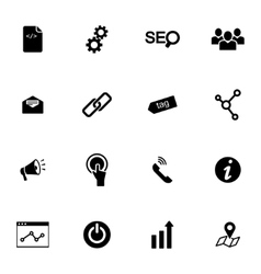 Black seo icons set vector