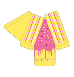 Cake slice box cutout template favor box vector