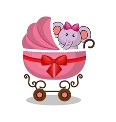 Cart baby with cute stuffed animal vector