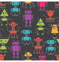 Cartoon robots seamless pattern vector image vector image