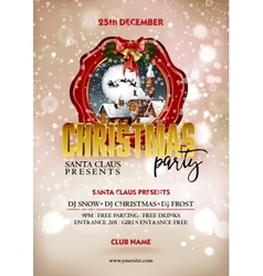 Christmas party poster design Greeting messages vector image vector image