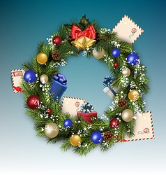 Christmas wreath with letters to Santa Claus vector image