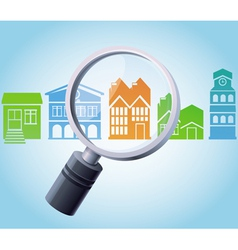 concept - magnifying glass and home icons vector image vector image