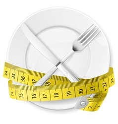crossed spoon and fork plate Diet metr 03 vector image