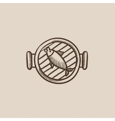 Fish on grill sketch icon vector