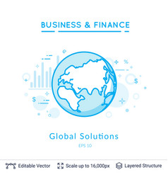 Global solutions symbol on white vector
