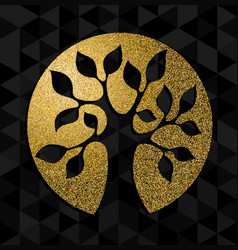 Gold glitter tree of life concept symbol art vector