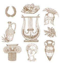 hand drawn greece icon set vector image