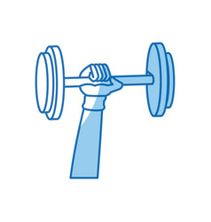 Hand holding dumbbell gym concept design graphic vector