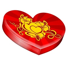 Hearts shape gift box vector image