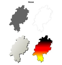 Hesse outline map set vector