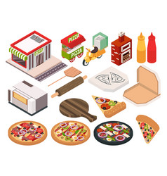 isometric pizzeria icon set vector image