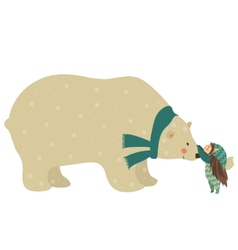 Little angel and polar bear vector image