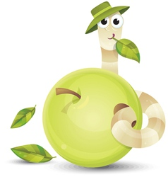 Little worm and apple vector image vector image