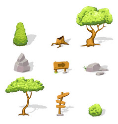 Natural game design elements set vector