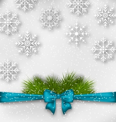 New year background with bow ribbon and fir vector