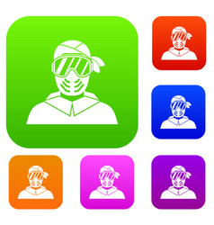 paintball player wearing protective mask set vector image vector image