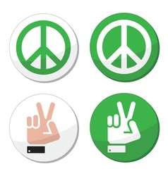 Peace hand sign icons set vector image vector image