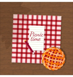 pie and checkered fabric on wooden background vector image