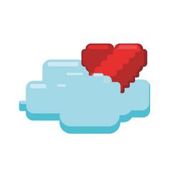 Pixelated heart shape vector
