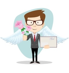 Postman with wings and flowers vector